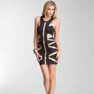 Bebe addiction gold and black dress